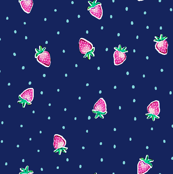 Strawberry Dots - Navy