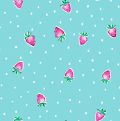 Strawberry Dots - Aqua
