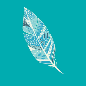 Aztec Feather in Turquoise