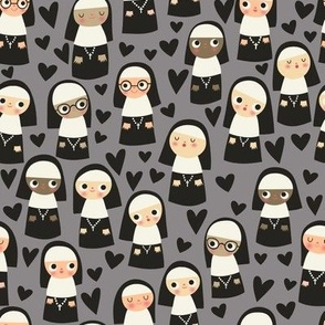 Nuns on gray