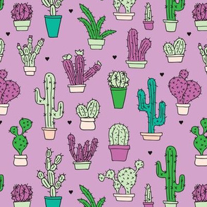 Cactus cacti summer garden botanical pink violet girls illustration trend pattern