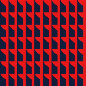 High Rise Windows Red Navy Blue