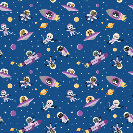 Cats in space fabric maribiscuits spoonflower for Space cat fabric
