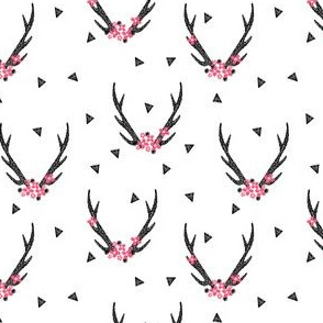 Antlers - Black and White with Flowers (Medium Version) by Andrea Lauren