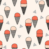 Ice Cream Cones - Blush/Coral/Champagne (Smaller Version) by Andrea Lauren