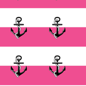 Anchor Stripes -Large  hot pink