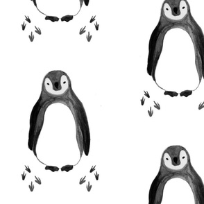 large penguins with prints