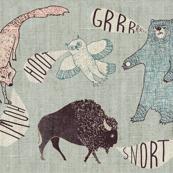 Grrr.Howl.Hoot.Snort (blue hemp)