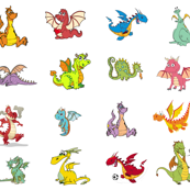 "Dragons 8"" quilt blocks"