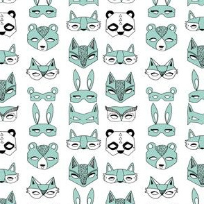 Animal Masks - Pale Turquoise (Tiny Version) by Andrea Lauren