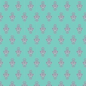 Elegant turquoise damask