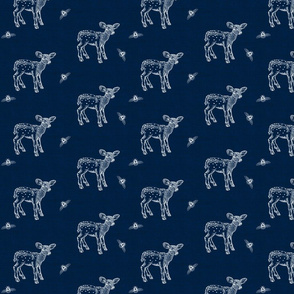 Fawn and Bees on Dark Denim Blue
