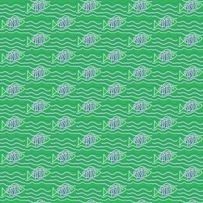 Fish in Waves Blue Green