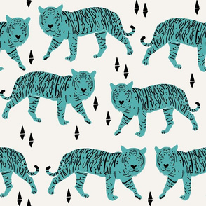 Tigers - Cream/Tiffany Blue (Large) by Andrea Lauren
