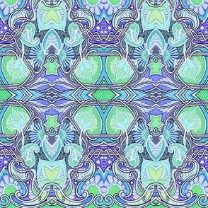 Flower Paisley Blue Green Thing