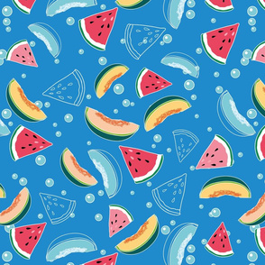Watermelon&Melon on blue water