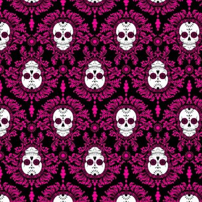 Dead Damask Hot Pink on Black