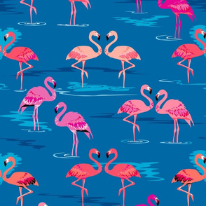 flamingos love blue