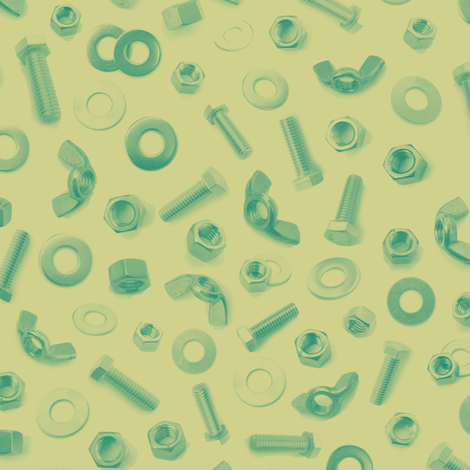 nuts, bolts and washers in green-gold