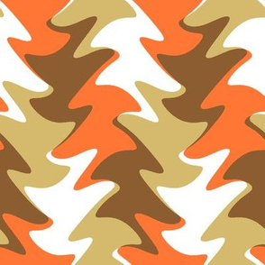 leaf swirl in orange, chocolate, and caramel