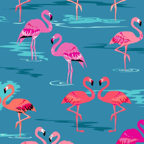 flamingos love teal - Large