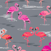 flamingos love grey - Large