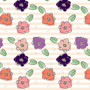 Hand Drawn Flowers  - Horizontal Stripe