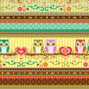 Colorful Love Owls