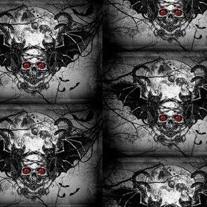 evil bats eyes and moon