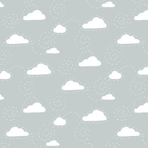 White Clouds on Grey
