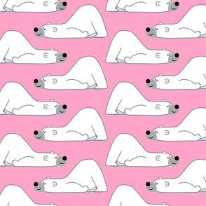 Cute Funny Cartoon Polar Bears Pink by Cheerful Madness!!