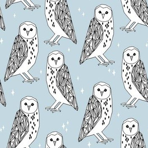 barn owl // baby blue pastel nursery kids owls hand-drawn illustration for kids nursery baby clothes by Andrea Lauren