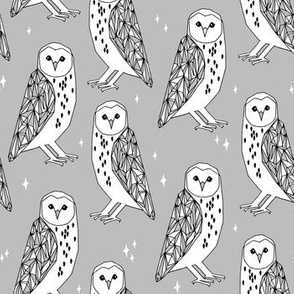 owl // barn owl grey and white hand-drawn original illustration by Andrea Lauren