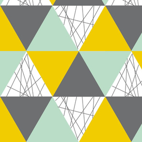 Gender Neutral Triangle Cheater Quilt - Mustard Grey Mint - Triangle Baby Blanket
