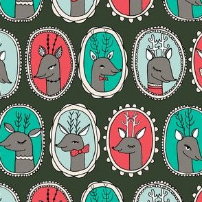 Reindeer Frame - Dark Green by Andrea Lauren