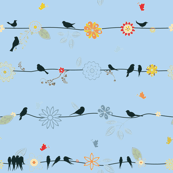 Birds on a Line Blue