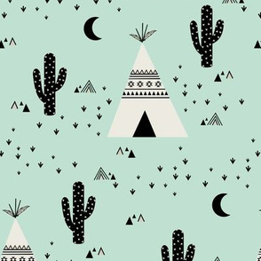 Teepee - Mint Background