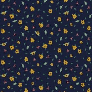 Pencil floral - Navy & Gold
