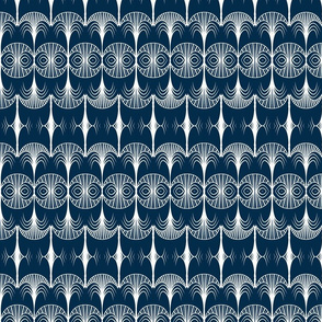 art deco white navy