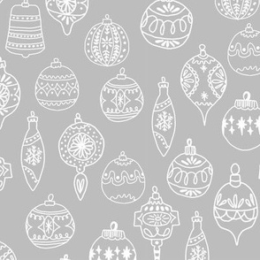 ornaments // grey christmas holiday ornaments illustration grey christmas