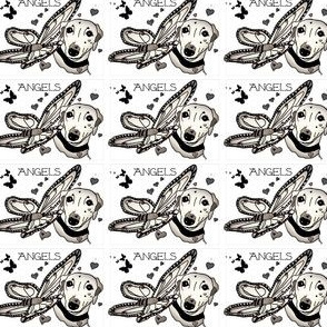 Angels Greyhound Hound Black White Butterfly