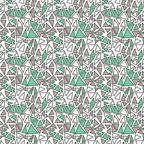 Dynamic Triangles White, Mint, Grey