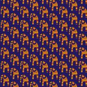 Elephants Orange Navy
