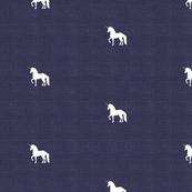 Unicorn on Dark Blue