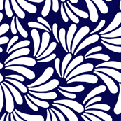 Curly Fronds in White on Indigo
