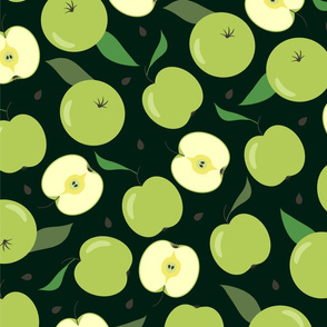 Green apple seamless pattern