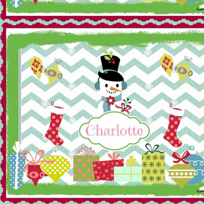 Frosty Holiday Quilt LG-personalzied Bubble Gum