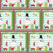 Frosty Holiday Quilt SM-personalzied Bubble Gum