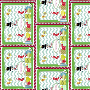 Frosty Holiday Quilt VERTICAL SM-personalzied Bubble Gum