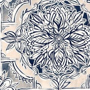 Indigo and Cream Watercolor Tiles